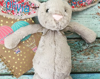 Birth Announcement Bunny, Personalized Jellycat Bunny Rabbit, Monogrammed Bunny, Personalized Baby Gift, Baby Shower Gift, Stuffed Animal