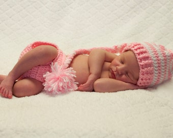 Baby Girl Knit Hat and Diaper Cover ANY COLOR Newborn Photo Prop