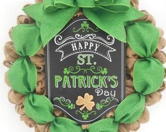 St. Patrick's day burlap wreath St. Patty's day burlap wreath St. Patrick's day door decor Irish wreath Irish door decor Ready to ship