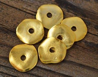 Mykonos Cornflake - 23mm Gold - Wavy Washer - 24 Karat Gold