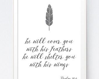 Psalm 91:4 Bible Verse Print, Bible Verse Wall Art, Under His Wings, Psalms Wall Art, Psalms Wall Print, INSTANT DOWNLOAD