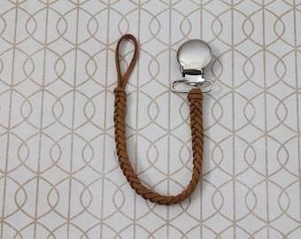 Brown Braided Faux Leather Pacifier Clip, Binky Clip, Soother Clip, Paci Clip