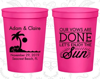 Neon Pink Stadium Cups, Neon Pink Cups, Neon Pink Party Cups, Neon Pink Wedding Cups (448)