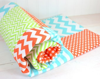 Baby Blanket, Crib Bedding, Minky Baby Blanket, Baby Shower Gift, Nursery Decor, Baby Quilt, Orange Lime Green Aqua Blue White Chevron