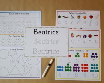 Pre school learning Pack, tracing letters, tracing numbers, name tracing, Early Learning, EYFS, nursery,  teaching, learning, educational