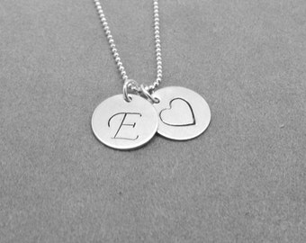 Script Initial Necklace, Heart Necklace, Letter E Necklace, Initial Jewelry, Heart, Charm Necklace, Sterling Silver Jewelry, All Letters