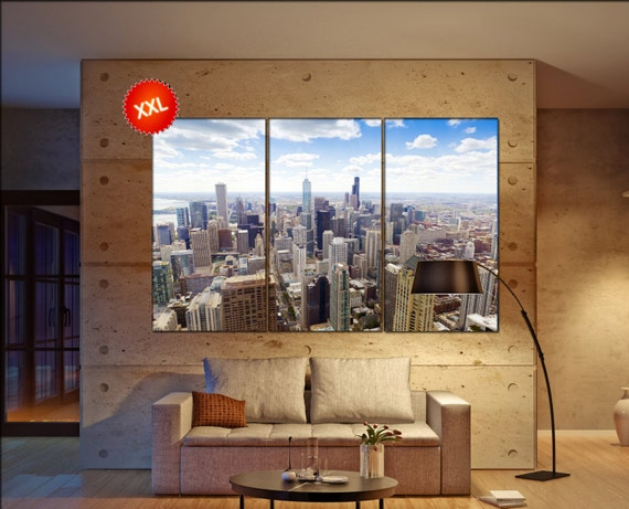 Chicago Downtown Skyline  print  on canvas wall art Aerial View Chicago Downtown photo art work framed art artwork
