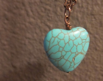 "Turquoise and Copper Heart Necklace - 31"" chain"