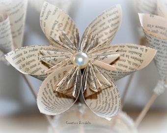 Flower origami paper page book old lace bead