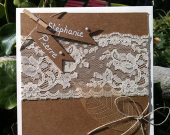 Romantic rustic wedding kraft and lace invitation and the dried leaf