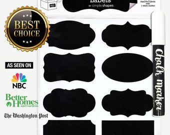 Chalkboard Labels Bundle, 40 Premium Stickers for Jars, bottles, containers + (1) Chalk ink Marker Included
