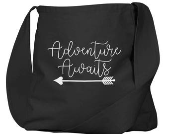 Adventure Awaits Black Organic Cotton Slouch Bag