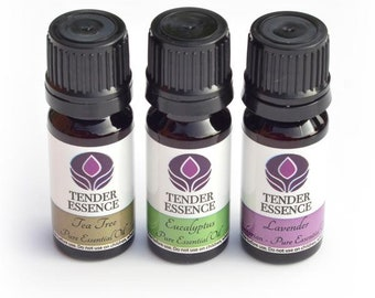 Essential Oils 3 Set with Tea Tree, Lavender & Eucalyptus. For home first aid kit