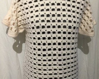 Open stitch hand made crochet tunic SALE 25% off