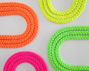 Statement necklace, colorful necklace, neon braided necklace, neon pink fabric, neon yellow, neon necklace, braided necklace, neon choker