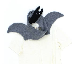 Bat Scarf - soft knitted lambswool scarf, winter scarf, animal scarf, wooly kids scarf, children scarf