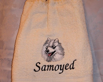 Kitchen Towel - Samoyed dog (head) - Embroidered crochet topped hand towel (Free USA Shipping)