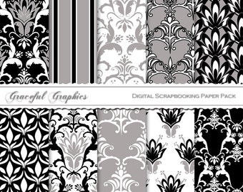 Scrapbook Paper Pack Digital Scrapbooking Background Papers DAMASK 10 Sheets 8.5 x 11  PaRIS BLACK and White Gray 1421gg