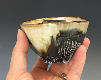 Small Tea Bowl or Whiskey Cup in Birn Gold and Ivory White Crystalline Glaze, Small Porcelain Cup.  2.5 in. Tall, holds 6 oz. Food Safe.