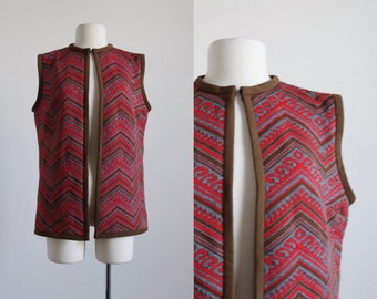 60s tunic vest - vintage 1960s knit blouse - sleeveless long blouse top cardigan - 1970s 70s - red gray brown - women size medium large m l