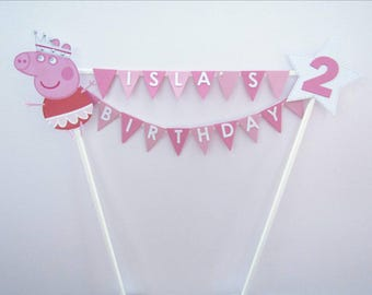 Cake Topper - Personalised  2 Row Bunting - Peppa Pig.  Perfect For  Birthdays & Special Occasions