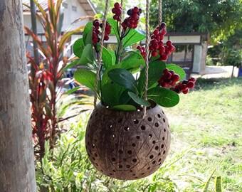 Handicraft Coconut Shell Hanging Planter Pots Natural Color/Garden/Unique Pot/Rustic Pots/Balcony Pot/Medium Size