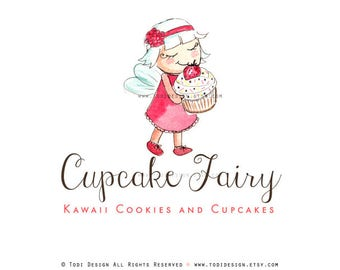 OOAK Character illustrated Premade  Cupcake Fairy Logo design - Will not be resold