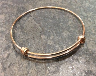 """Rose Gold STAINLESS STEEL bangles adjustable wire bangle bracelet blanks with Rose Gold finish sold per piece Beautiful Quality 2 1/2"""""""