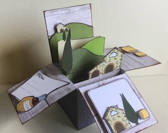 Tuscan landscape Card - Explosion Card - Card 3D - Printable Card