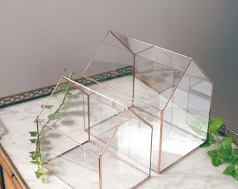 Little glass house - Geometric terrarium - Tiffany stained glass - Wedding envelope box - Wedding box for cards - Gift - Home decor