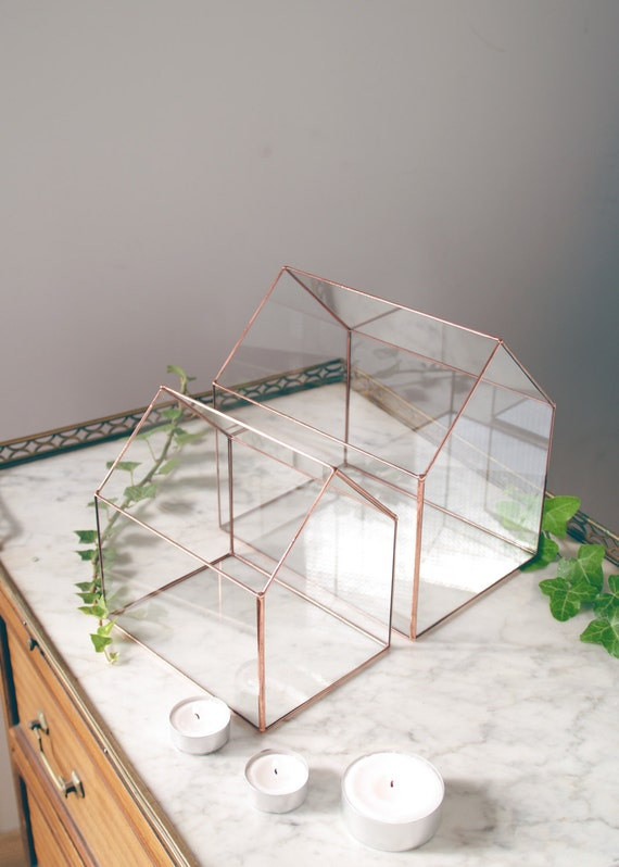 Little glass house geometric terrarium tiffany stained