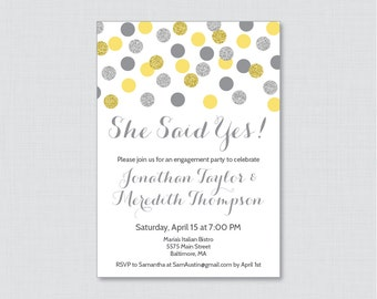 "Yellow and Gray Engagement Party Invitation Printable or Printed - Yellow Silver Glitter Dots Invites ""She Said Yes!"" Silver Glitter 0001-Y"