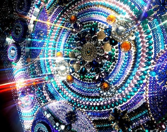 Picture of the Starry sky. The pattern of a kaleidoscope. Rhinestones, sequins. Large Contemporary Abstract Painting on canvas.