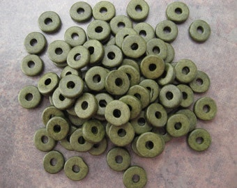 Greek Ceramic Beads Dark Khaki 8mm Round Washer