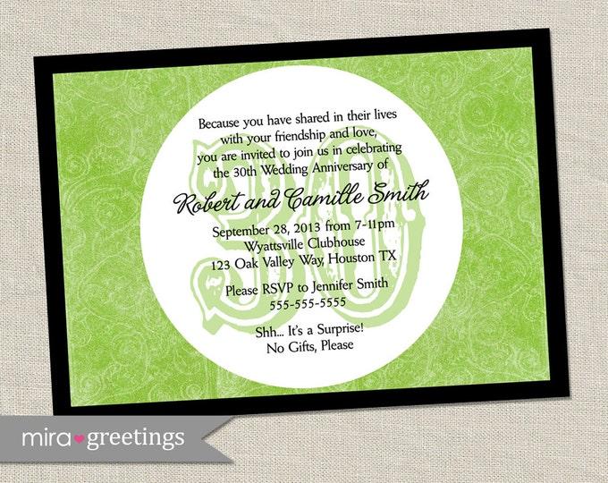 30th Anniversary Party Invitation - Printable Digital File