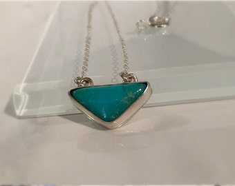 Handmade Turquoise Necklace./Handmade Natural Turquoise Sterling Silver Necklace./Modern Turquoise Necklace/Free US Ship.