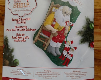 Bucilla Felt Christmas Stocking Kit - Elf On The Shelf with Three of His Scout Elves