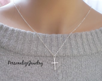 Cross pendant etsy confirmation gift sterling silver cross necklace small cross necklace sterling silver cross pendant mozeypictures Images