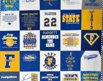 Custom Tshirt Quilt - Various Colors- Tshirt Quilt- Free Shipping