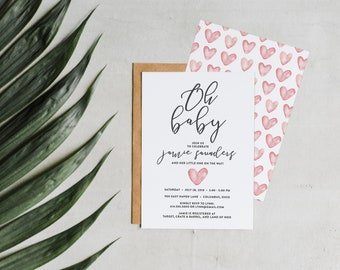 Baby Shower Invitation • Watercolor Blush Hearts Printable Custom Oh Baby Shower Invite • Unique Calligraphy & Blush Modern Baby Shower Set