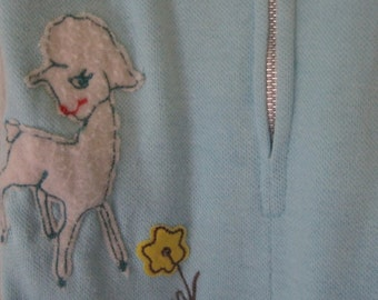 Vintage baby blue Wonderalls with lamb, size Medium, Easter