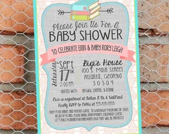 Book Themed Baby Shower Invitation - Classic Book Baby Sprinkle - Gender Neutral - Customize - Printable - 5x7 inch - Pastels