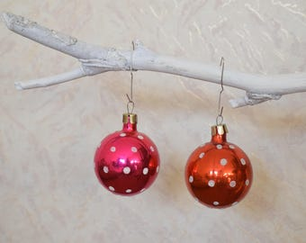 Vintage Christmas ornament red balls in polka dots Soviet era New Year decoration Сollectible Set of 2