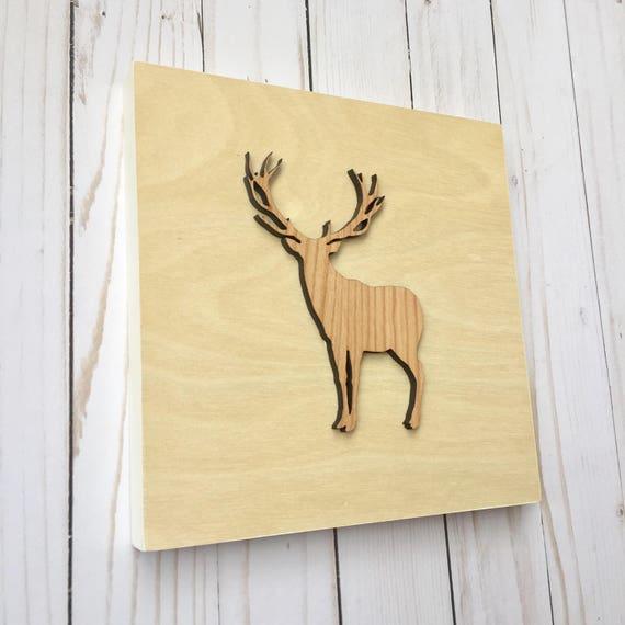 Scandinavian Wall Art Woodland Deer Decor Deer Silhouette
