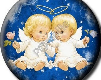 Cabochon resin 25 mm - Christmas Angels stick (650)