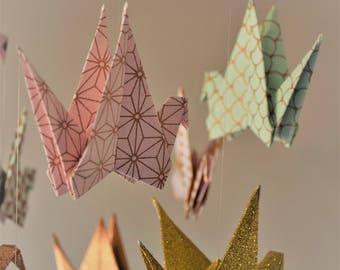 Pastel origami mobile