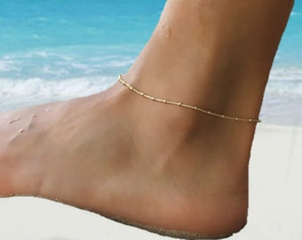 Delicate Gold Anklet, Dainty Silver Anklet Bracelet, Gold Ankle Chain, Gold Boho Anklets, Anklets for Women, Summer , Beach, Gift for Her
