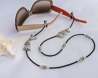 Beaded Eyeglass Chain - Silver Greek Worry Fish