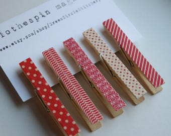 Magnet Clips, Clothespin Magnets, Decorative Clothespins, Teacher gift, Office organization,  Red Kitchen decor, Hostess Gift, Housewarming