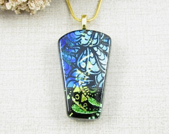 Blue and Green Fused Dichroic Pendant - Patterned Dichroic Glass Necklace - Blue, Green and Black Glass Pendant - Handmade Dichroic Jewelry